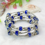 Adjustable Glass Bead & Silver Wrap Bracelet ~ Cobalt Blue