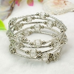 Adjustable Glass Bead & Silver Wrap Bracelet ~ Clear Crystal