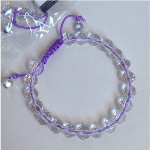 Adjustable Faceted Clear Resin Bead Lavender Shambhala Bracelet