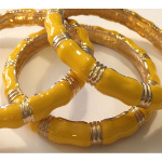Gold Tone Yellow Enamel Bamboo Bangle Bracelet