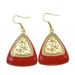 Modern Gold Filigree & Rhinestone Red Enamel Earrings