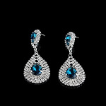 Large Faceted Crystal & Rhinestone Bling Earrings ~ Teal