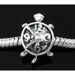 Tibetan Silver Figural Clock Turtle European Spacer Bead