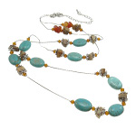 Turquoise Amber Agate & Gemstone Necklace