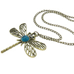 Antiqued Brass Tone Dragonfly Necklace Rhinestone Turquoise Cab