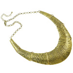 Antiqued Boho Bohemian Chic Statement Necklace ~ Gold