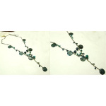 Blue Hues Shell & Glass Bead Dark Silver Tone Necklace