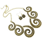 Antiqued Gold Tone Renaissance Style Necklace Earrings Set